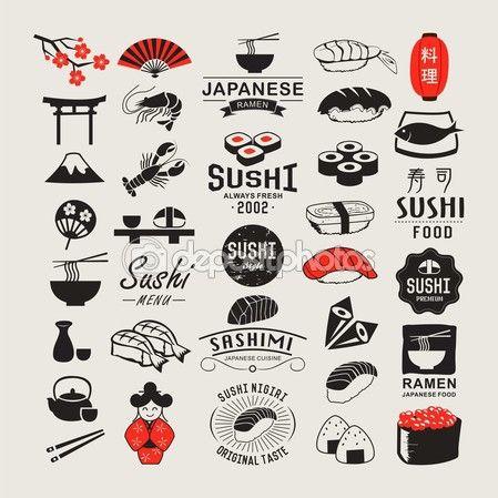 vector conjunto de logotipos del sushi objetos logos insignias etiquetas iconos