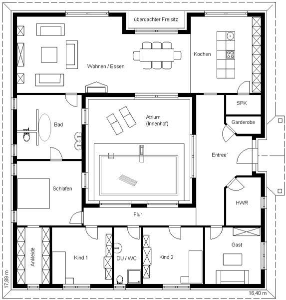 Haus Mit Innenhof Grundriss Wohn Design