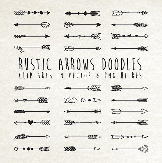 Tribal Rustic Boho Arrows Doodle Clip Art By Seaquintdesign
