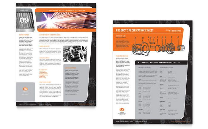 Manufacturing Engineering Datasheet Template Design by StockLayouts - product data sheet template