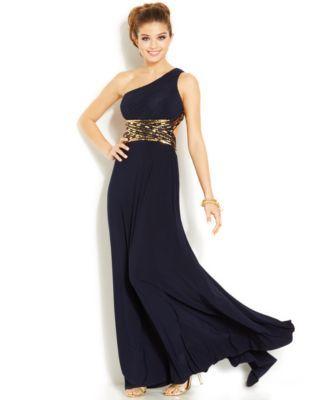8bc511e39 Blondie Nites Juniors' One-Shoulder Open-Back Gown | macys.com ...