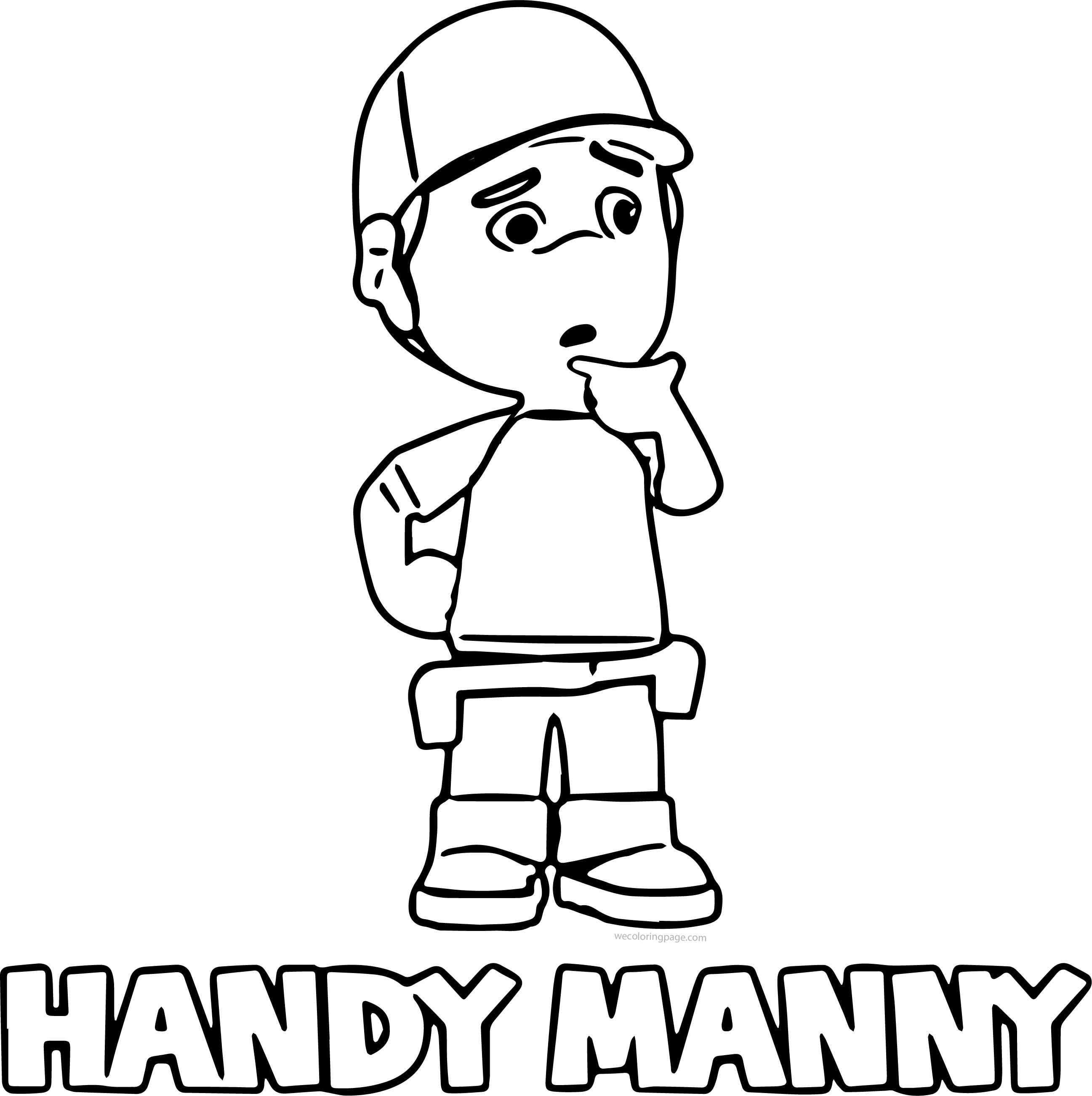 Awesome Thinking Handy Manny Coloring Page Handy Manny Coloring