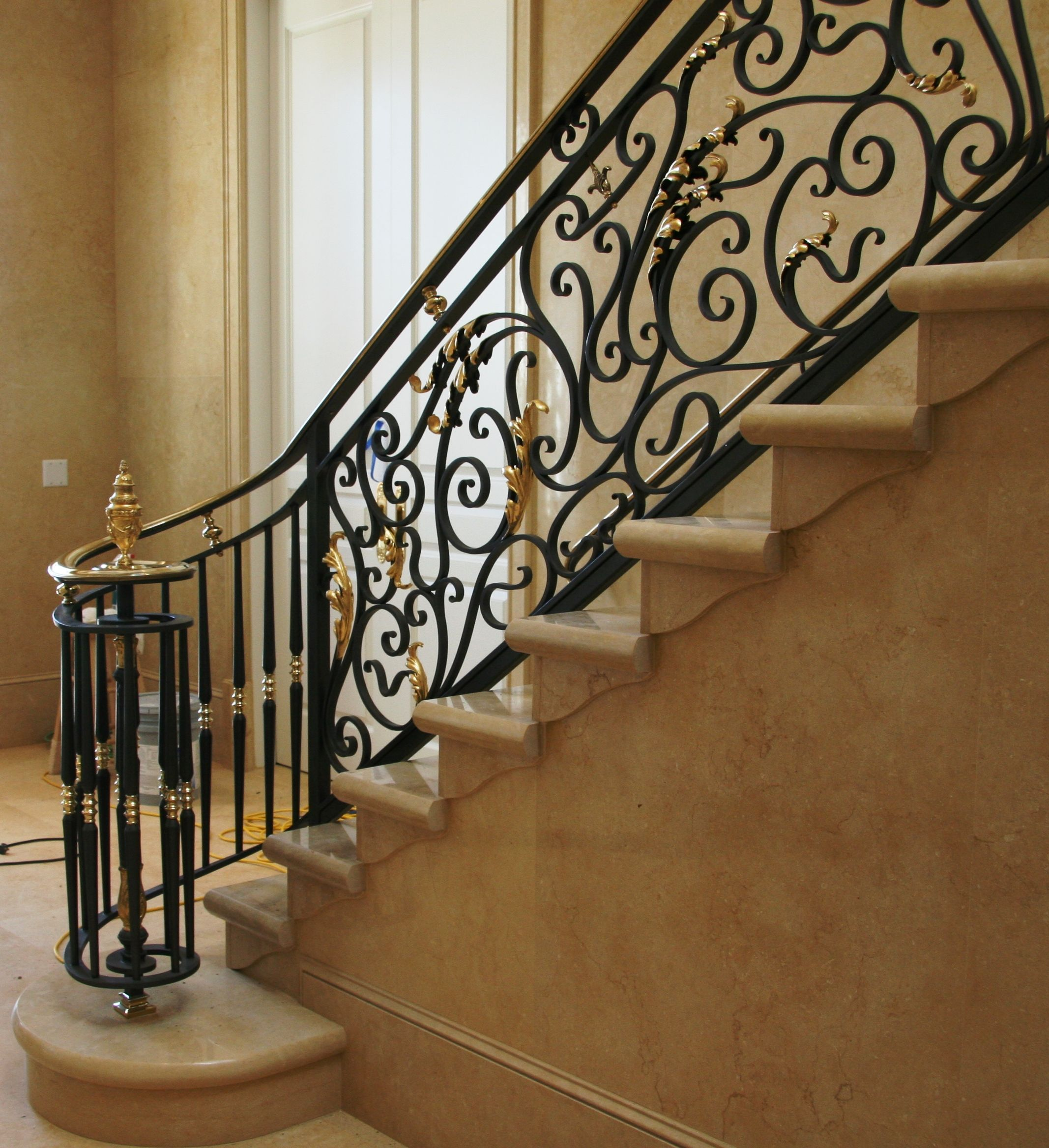 Dramatic Volute Starting An Elegant Wrought Iron And