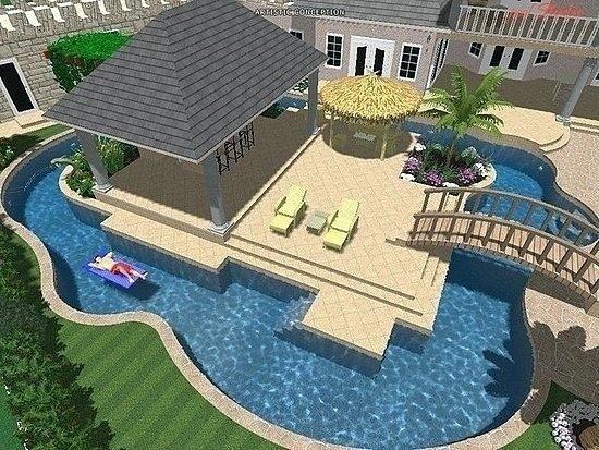 Inspiring Lazy River Pool Design Ideas 12 Backyard Pool Pool Houses Dream Pools