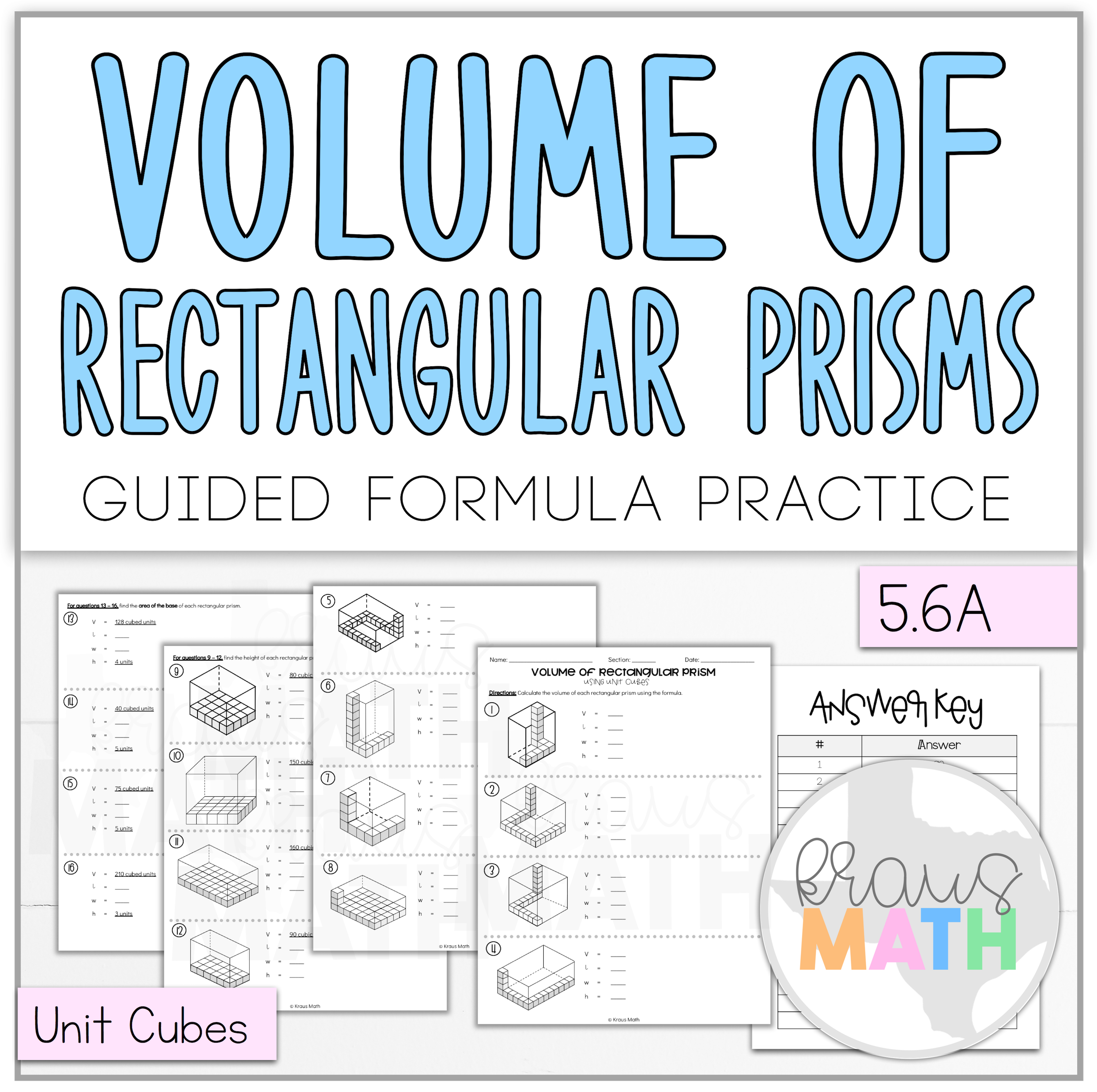 Volume Of Rectangular Prisms Using Unit Cubes Worksheet