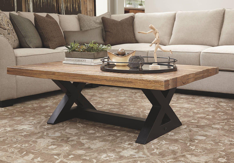 Light Brown Wood Coffee Table With Black Metal Base