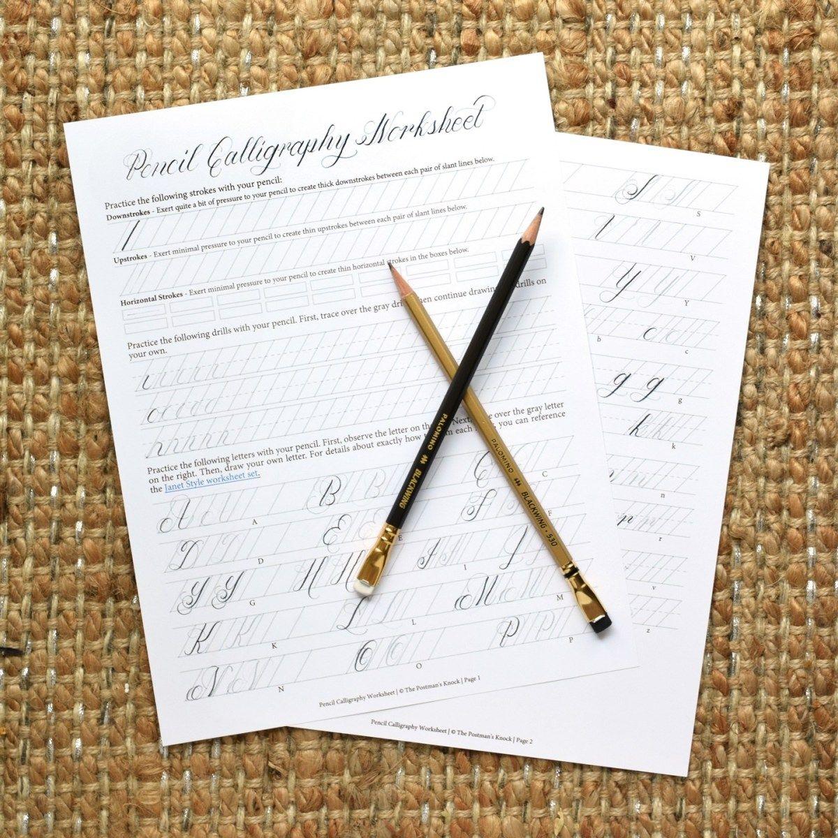 Printable Pencil Calligraphy Worksheet