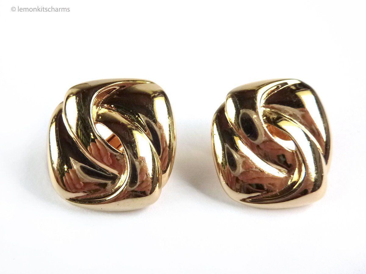 1ed6c017a Vintage Napier Double Loop Earrings, Chain Knot Style, 1980s 80s Jewelry, Gold  Goldtone