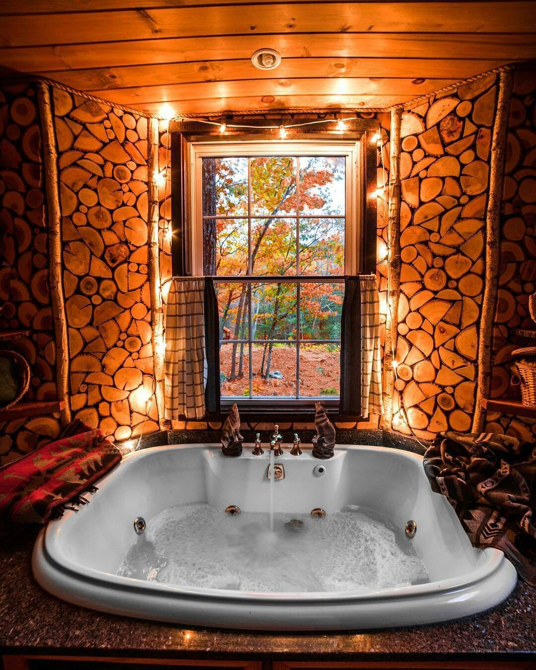 Love The Lights And The Open Window Luxury Tree Houses Indoor Jacuzzi Rustic House