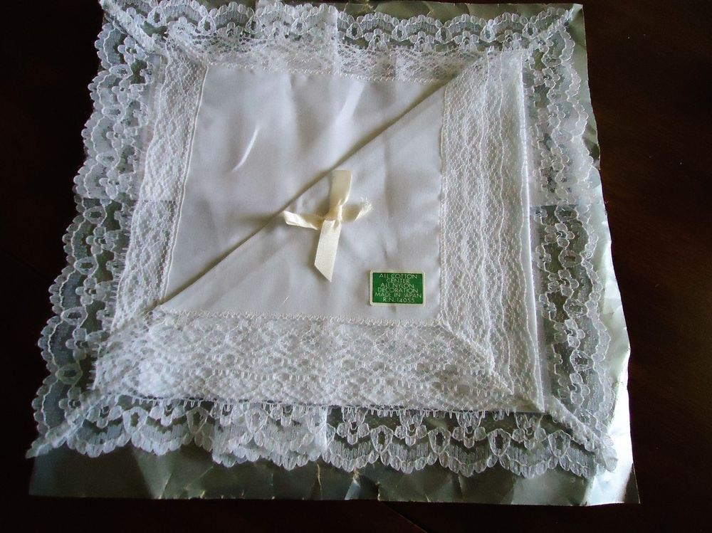 Vintage (2) Ladies Handkerchiefs White w/ Lace Border Never Used #Unbranded #PlainwithLace