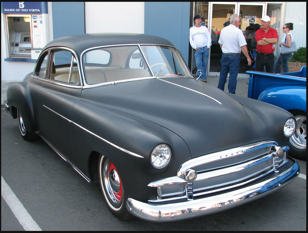 Coupe 1951 chevy sport coupe : 49' Chevy Sport Coupe in flat black.. We want to do yellow wheels ...