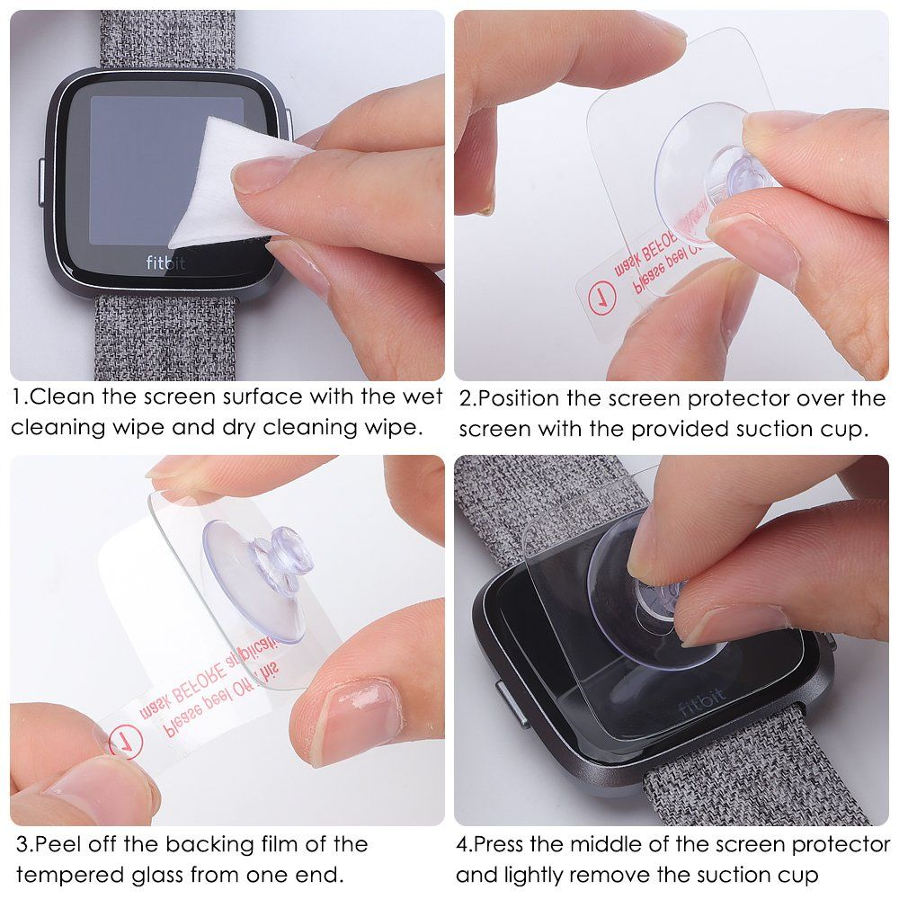 EZCO Compatible Fitbit Versa Screen Protector (4-Pack