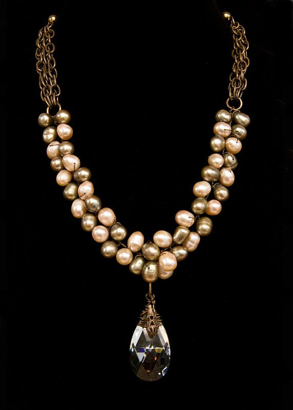 Cream Pearl Beaded Necklace Crystal By Cherylparrottjewelry