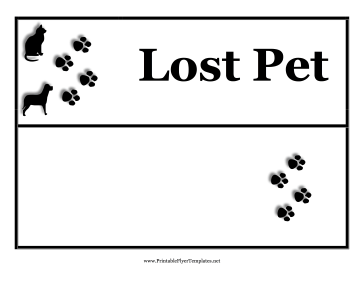 This Printable Flyer With Paw Prints And A Dog And Cat Is Intended