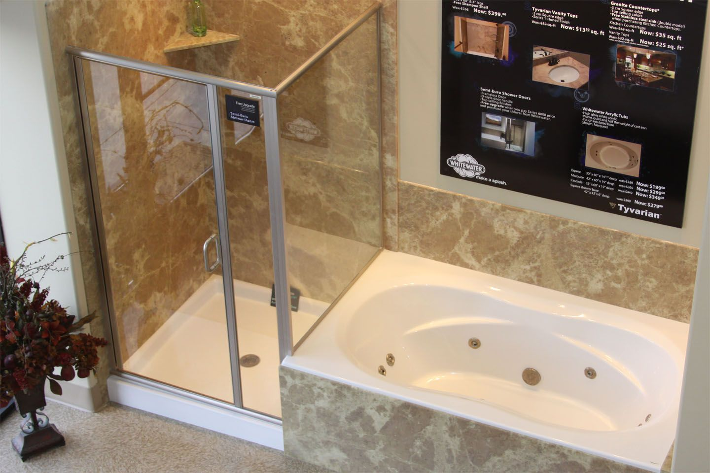 Garden tub and shower combo shower bases 0005 cropped tub shower combo layton showroom - Bathtub small space concept ...