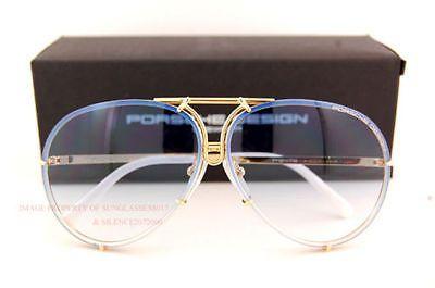 New Genuine PORSCHE DESIGN Titanium Gold/Blue Aviator Sunglasses P 8478 W 69mm
