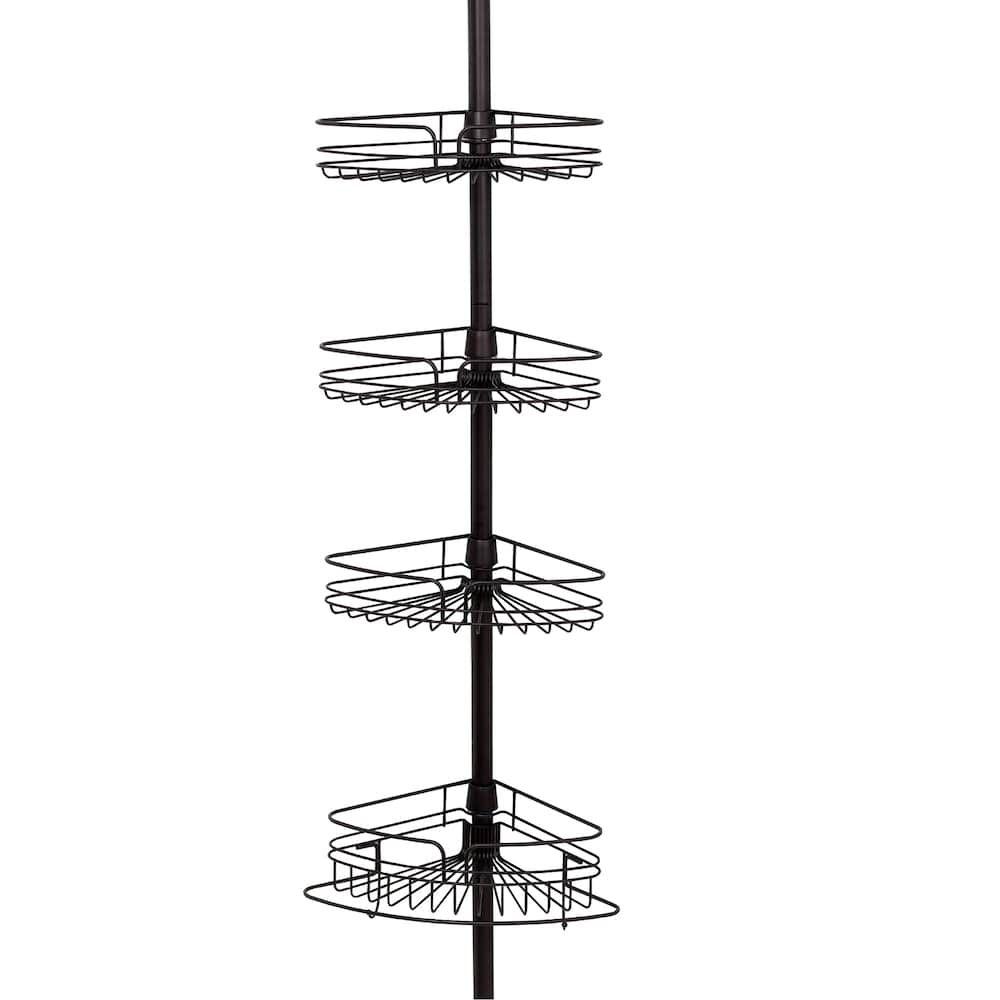 3 Tier Shower Caddy Tension Rod Bathroom Corner Shelf Unit