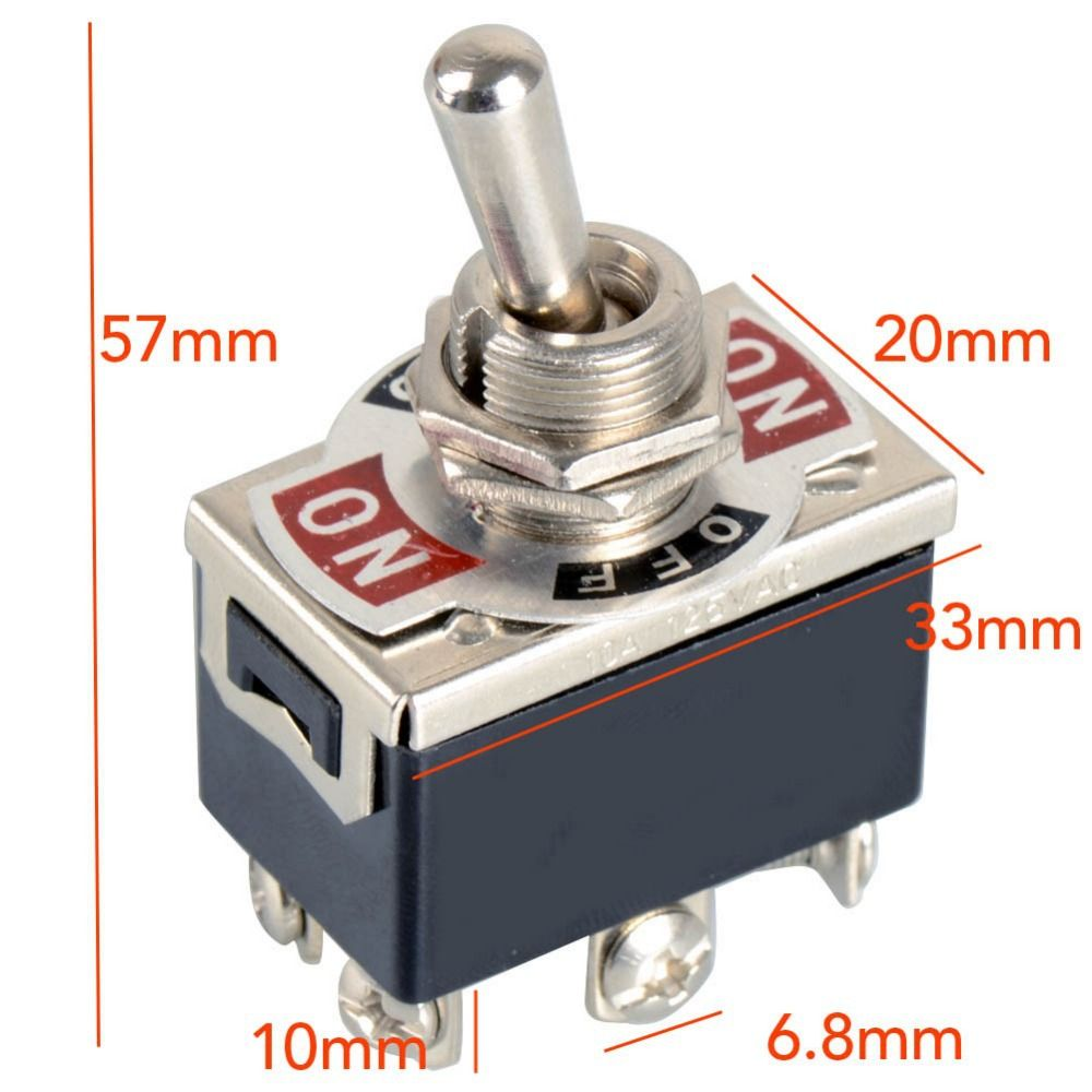1 Piece Black New 6-Pin Toggle DPDT ON-OFF-ON Switch 15A 250V Mini ...