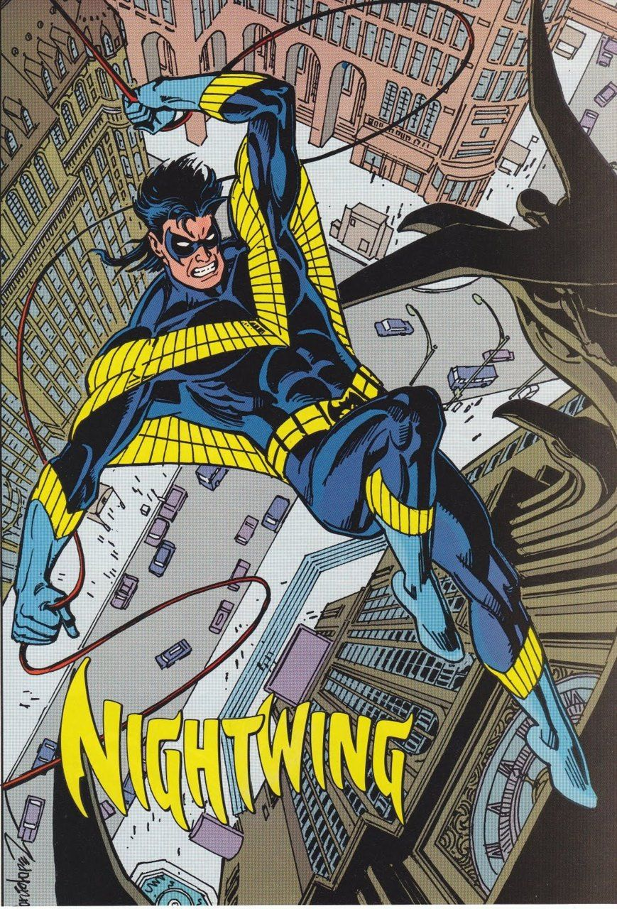 Nightwing's silly costume.
