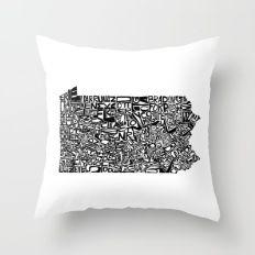 Typographic Pennsylvania Throw Pillow