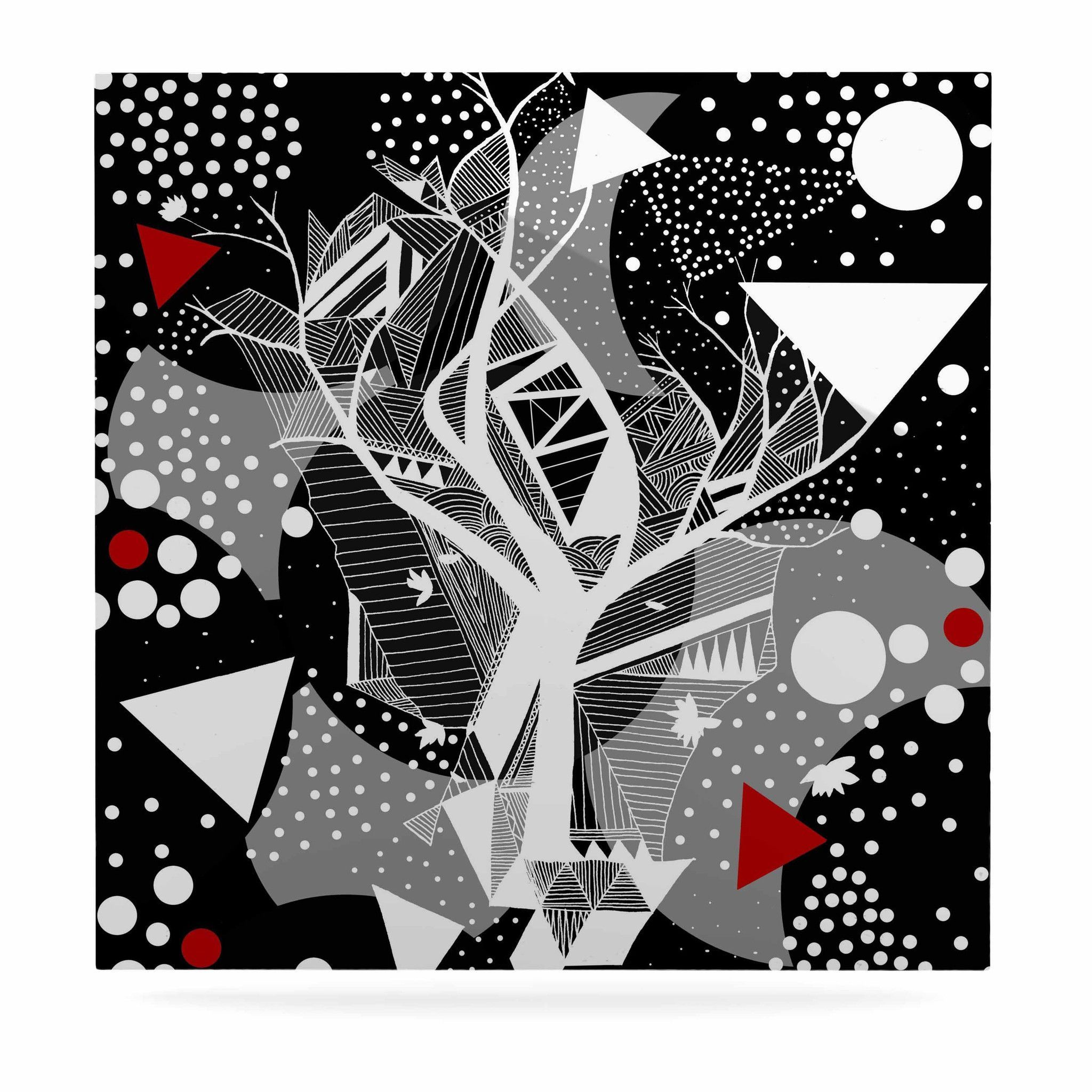 "Marianna Tankelevich ""Geometric Play"" Black Red Luxe Square Panel"