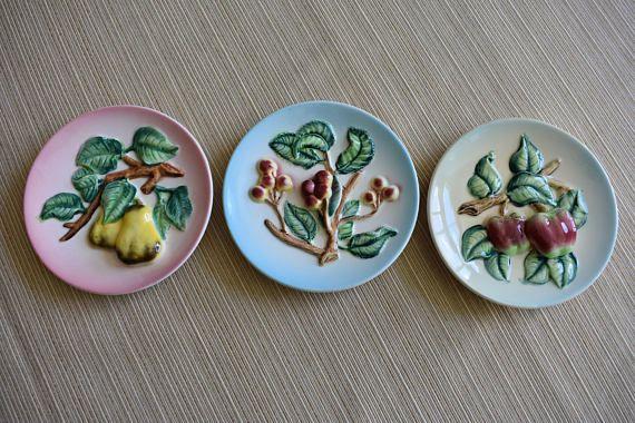 Vintage Japanese Fruit Wall Plate set of 3 Vintage Decorative ...