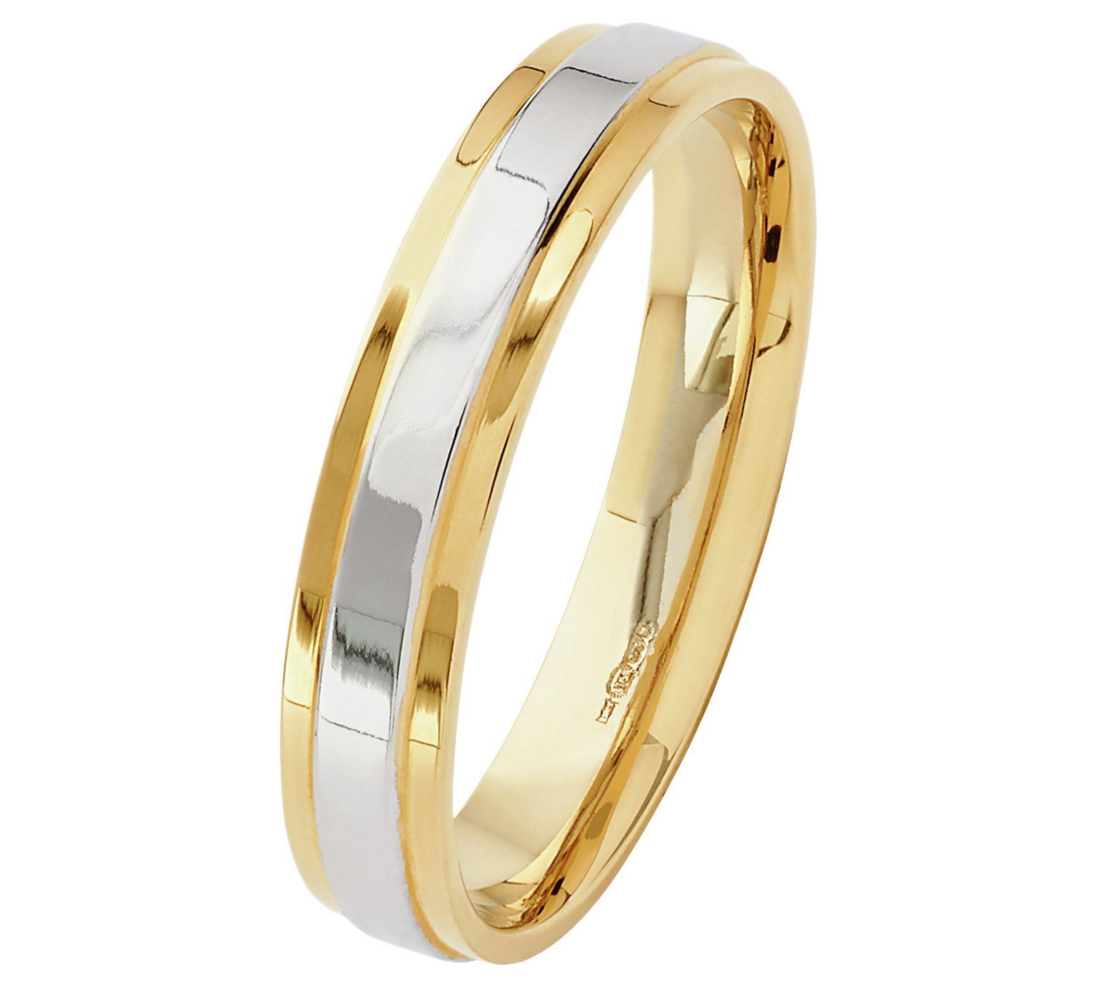 Buy Revere 9ct White And Yellow Gold Heavyweight Wedding Ring At