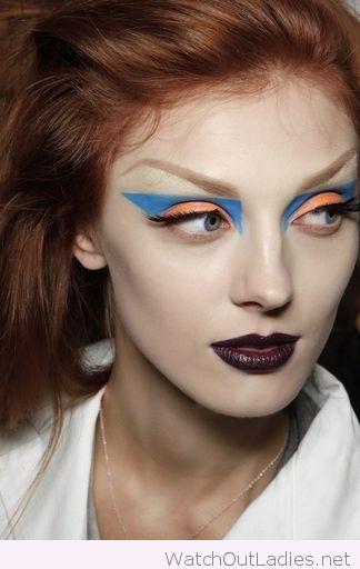 Blue and orange eye makeup