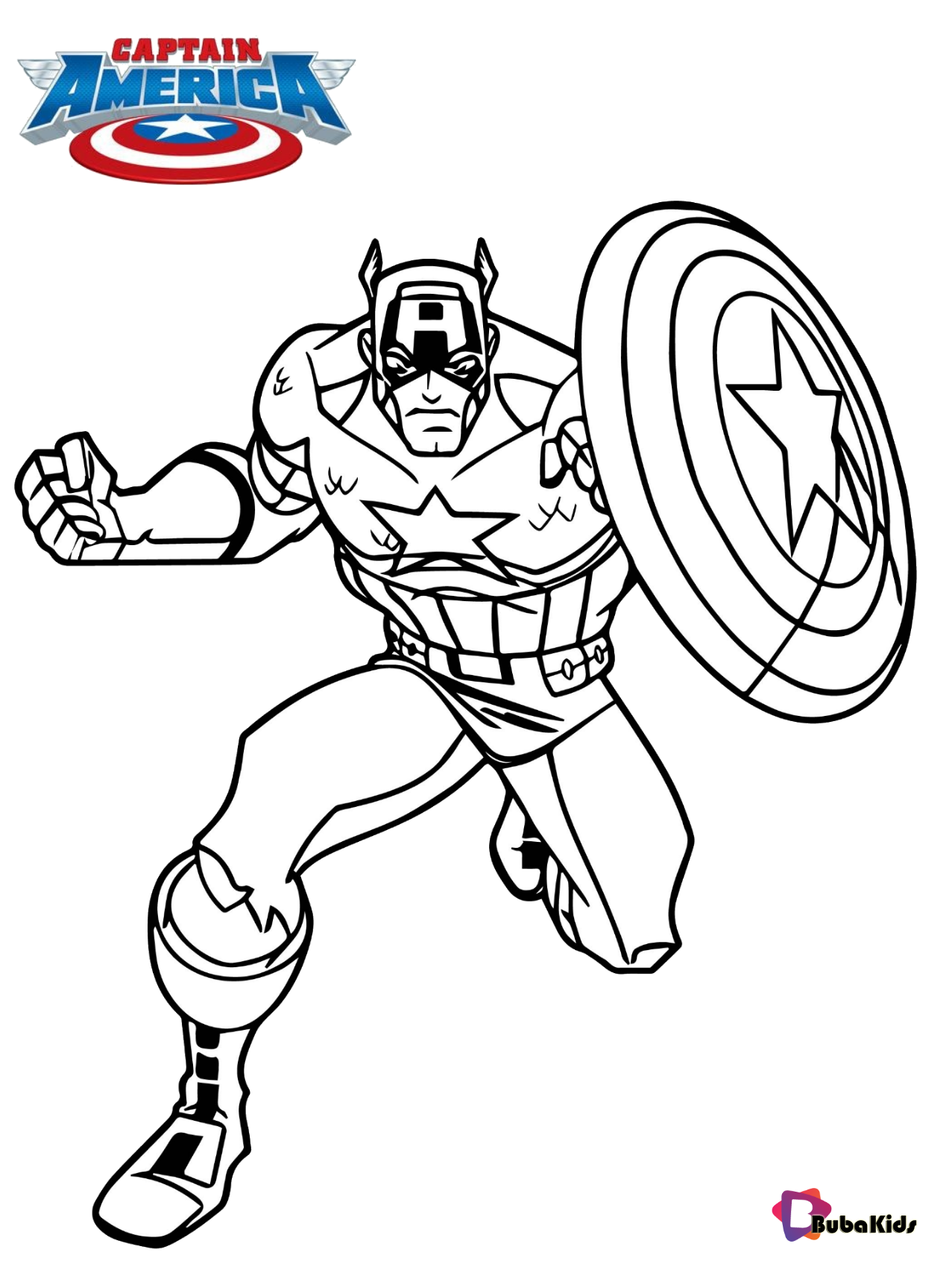 Captain America superhero coloring page for kids en 2020 ...