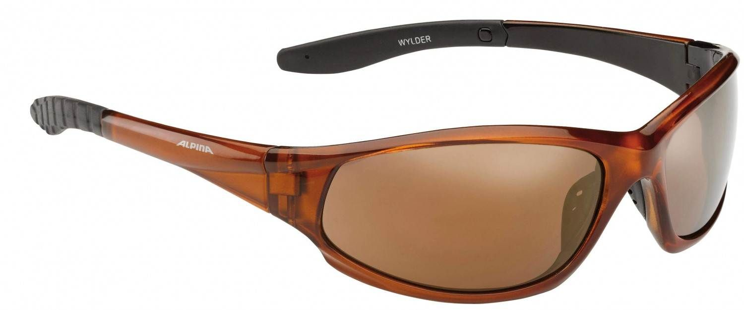 Alpina Wylder Sportbrille (Rahmenfarbe: 391 brown transparent, Scheibe: gold mirror)