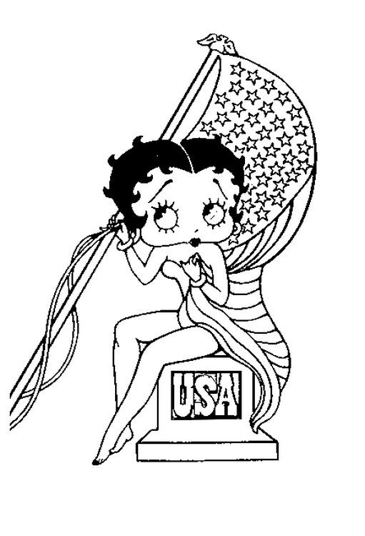 Betty Boop Posing With United States Flag Coloring Page