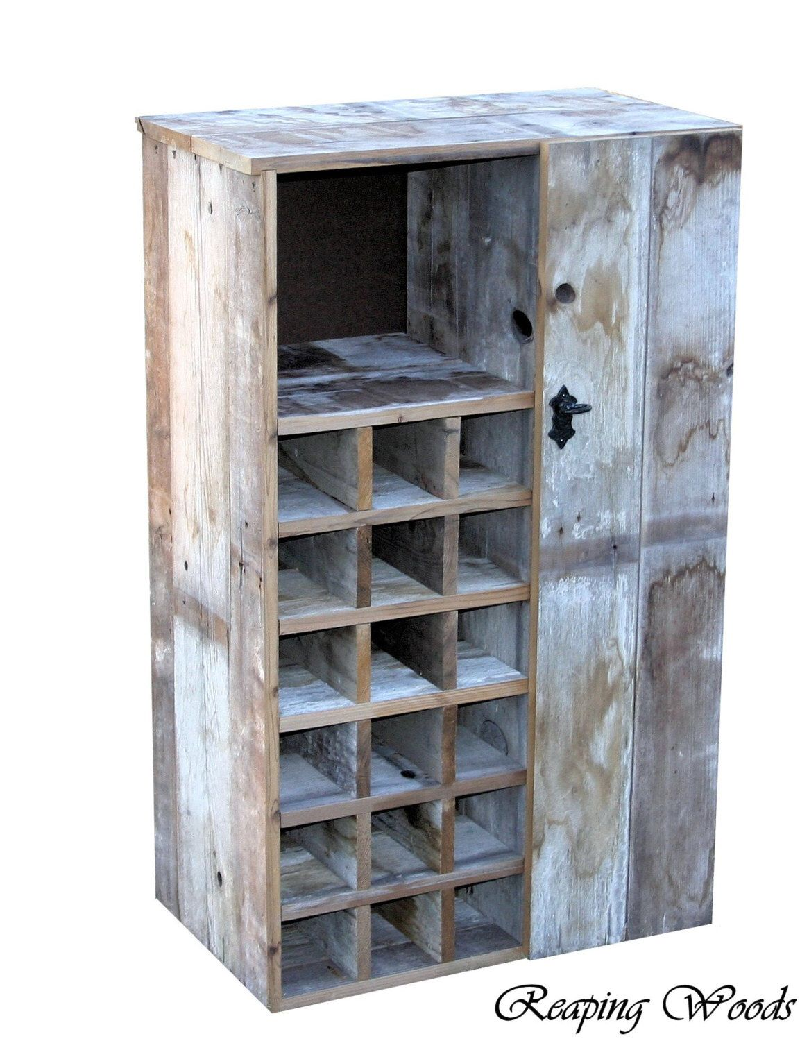 Large Reclaimed Rustic Barn Wood Wine Storage Cabinet rack With ...