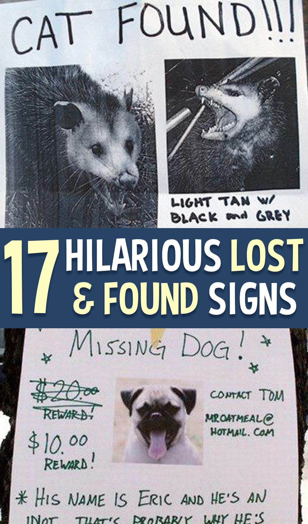 17 Hilarious Lost & Found Signs