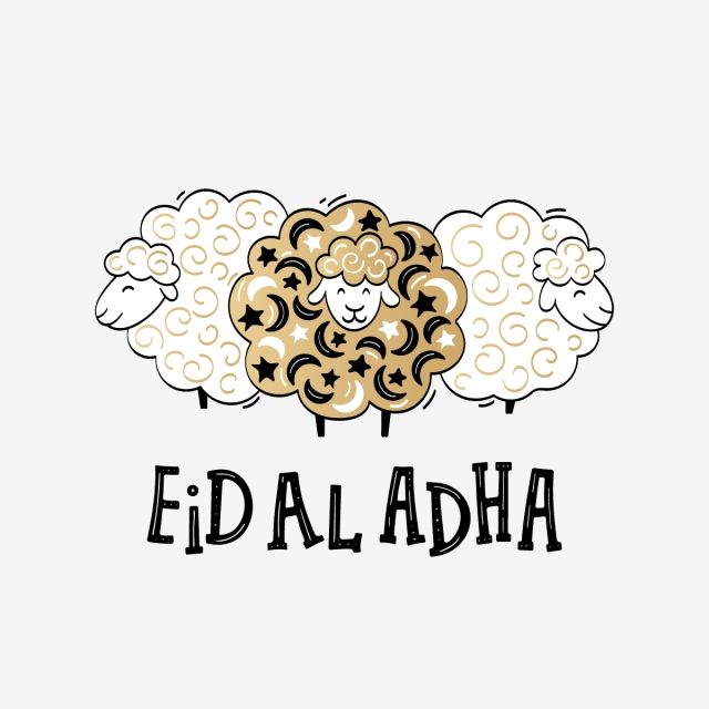 Eid Al Adha Festival Poster With Lettering And Sheeps In Cartoon Sheep Clipart Png Islamic Png And Vector With Transparent Background For Free Download Eid Al Adha Eid Stickers Eid Al
