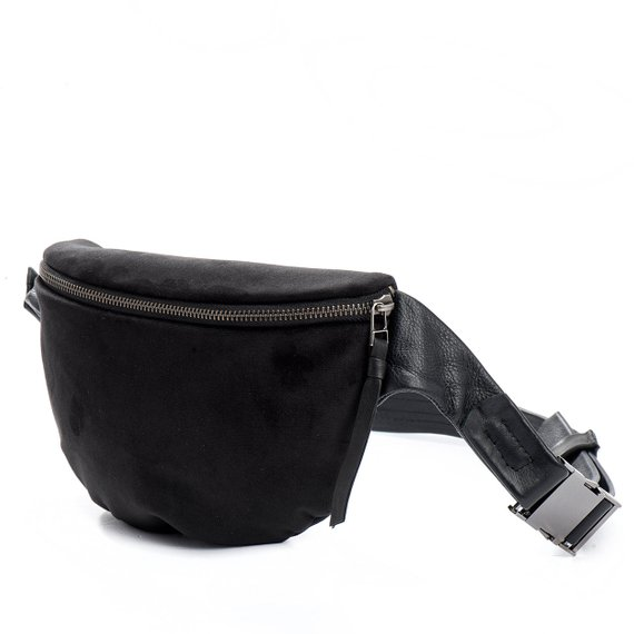 301f1aaa6 ... black pack purse modern waist bag stylish hip bag with 2 pockets and  leather strap moon ...