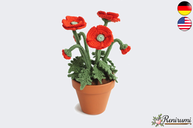 Hakelanleitung Mohnblume Hakeln Anleitung Hakelanleitung Blumen Hakeln