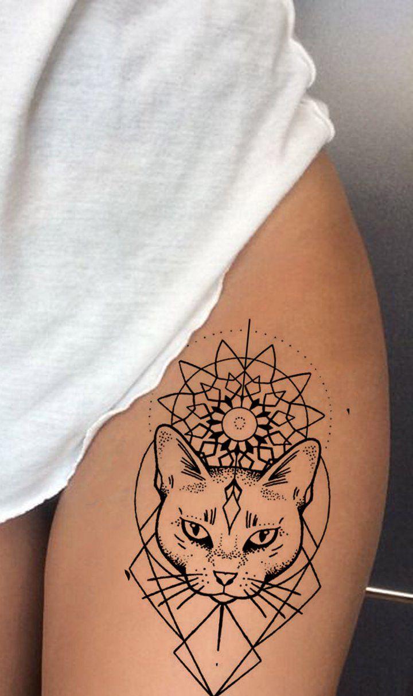 Aziza Tribal Geometric Shapes Egyptian Mandala Cat Temporary Tattoo Egyptian Cat Tattoos Geometric Tattoo Geometric Mandala Tattoo