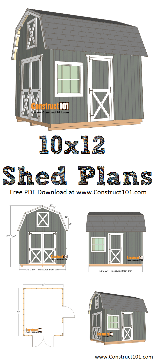 10x12 Barn Shed Plans Pdf Download Construct101 10x12 Shed Plans Shed Plans Shed