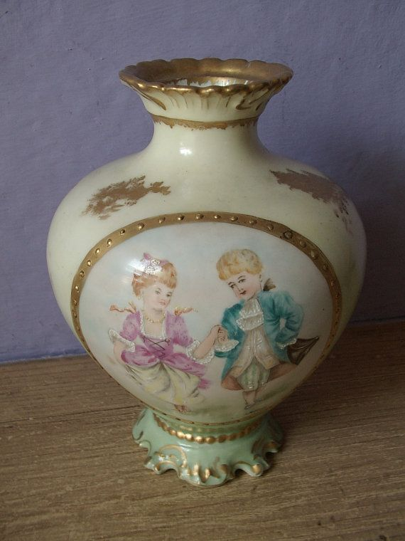 Antique 1890s Martial Redon Limoges France Hand Painted Vase