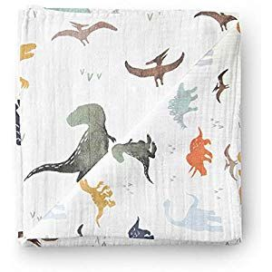 Aenne Baby Muslin Baby Swaddle Blanket Dinosaur Dino Print, Baby Shower Gifts, Luxurious, Sof...