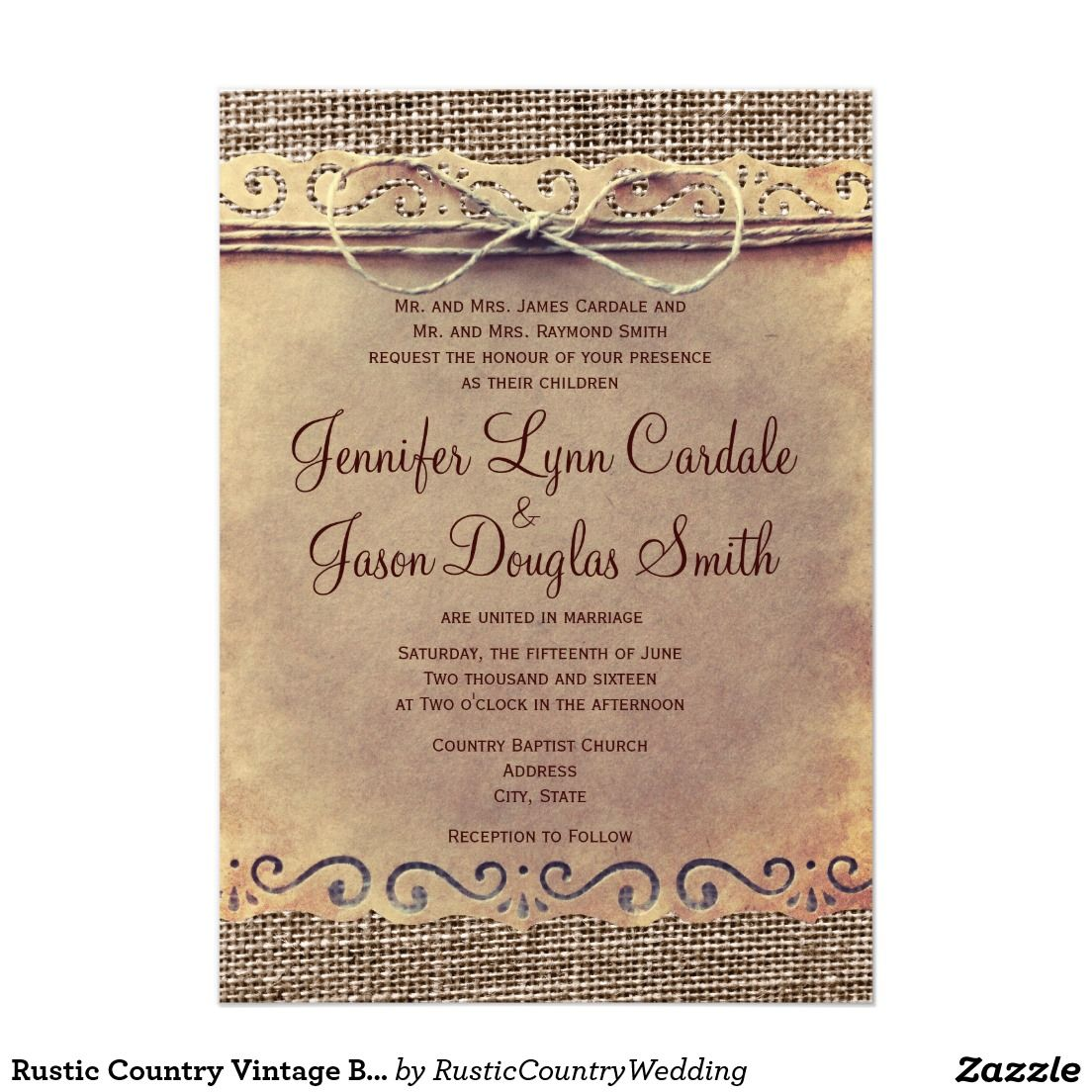 Rustic Country Vintage Burlap Wedding Invitations Perfect Weddings