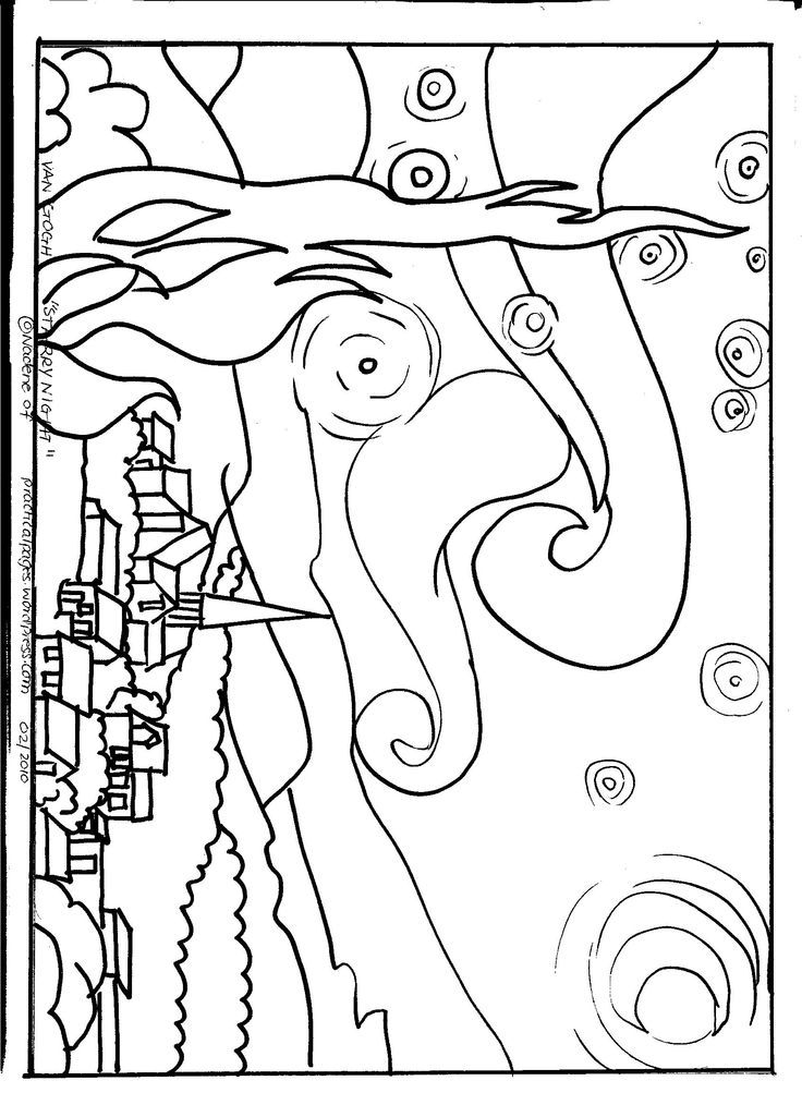 "Line Art By Famous Artists : Van gogh ""starry night art appreciation coloring"