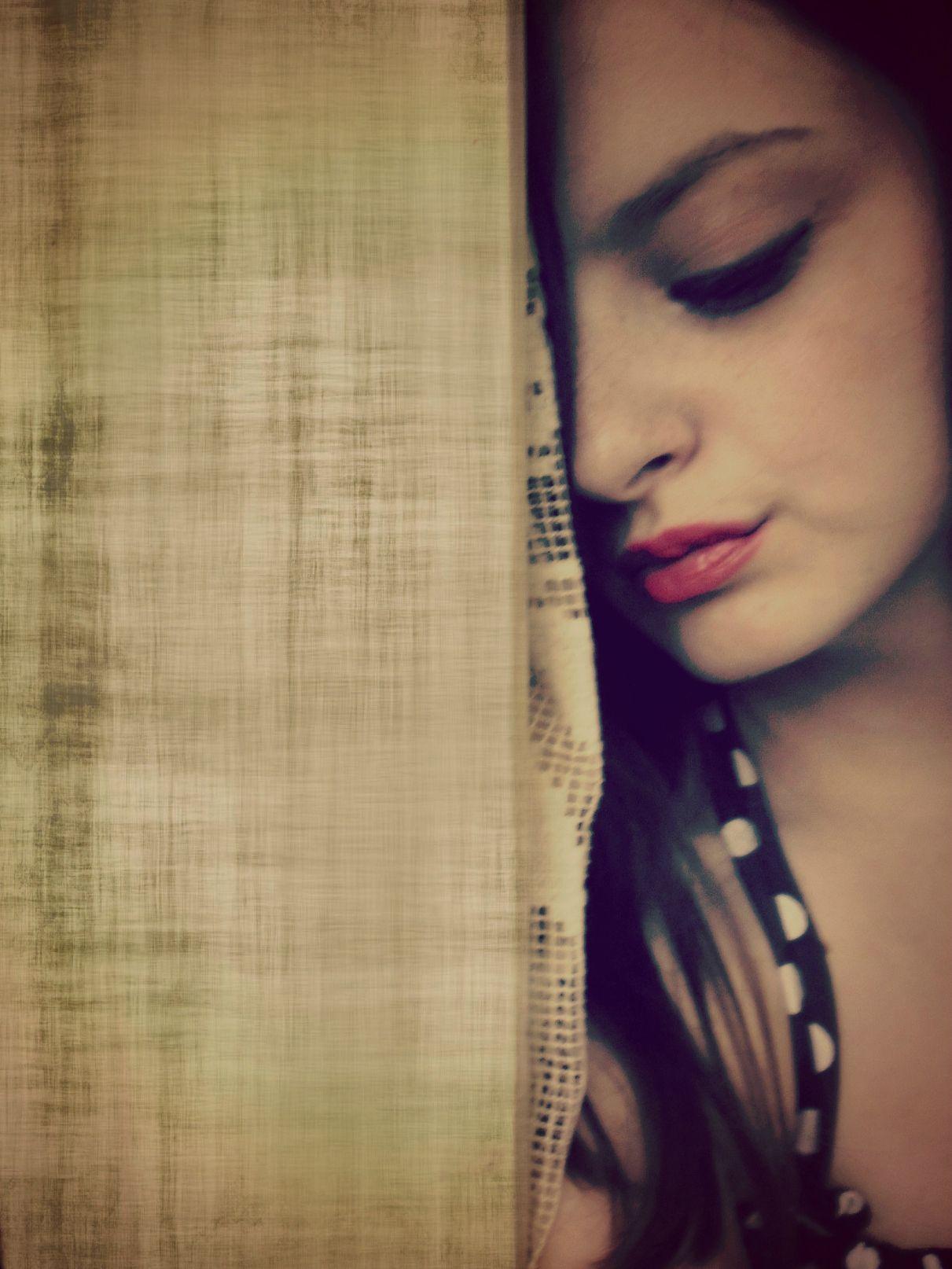Girl alone sad red lipstick polka dots inspiring picture on favim com