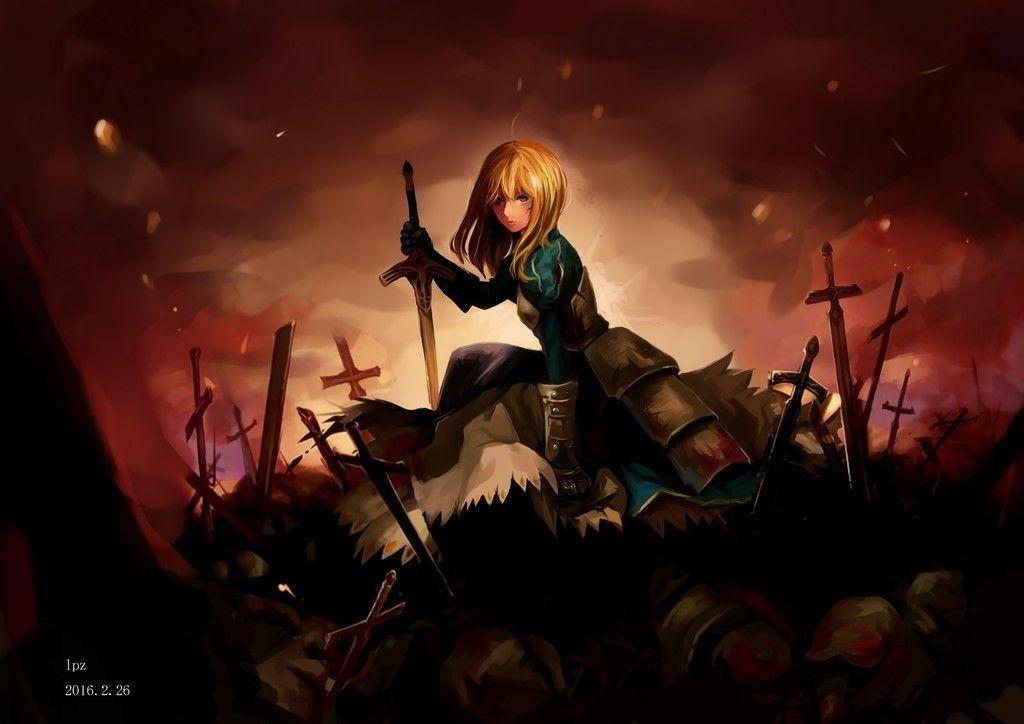 Saber war field anime girl fate series art wallpaper - Anime war wallpaper ...