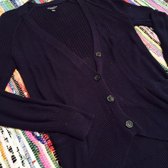 American Eagle Knitted Cardigan! Super comfy navy blue cardigan from American Eagle! Is a very soft chunkier knit! Has a pull on the left shoulder! American Eagle Outfitters Sweaters Cardigans