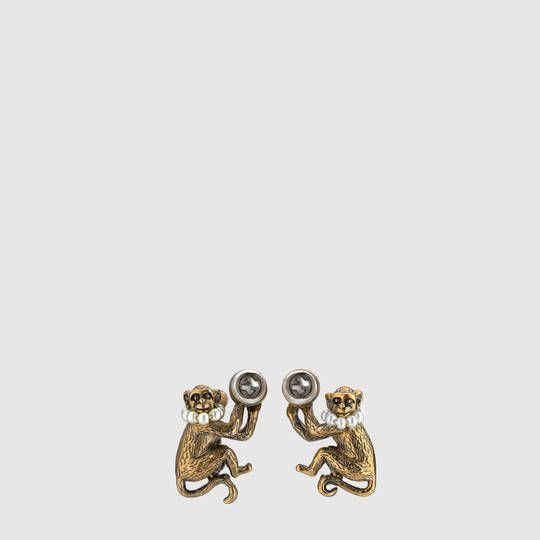 b2d022d1619 Gucci Monkey earrings with glass pearls