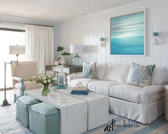 Best Ocean Sunset Wall Art Aqua Teal Gray Blue White Large 640 x 480