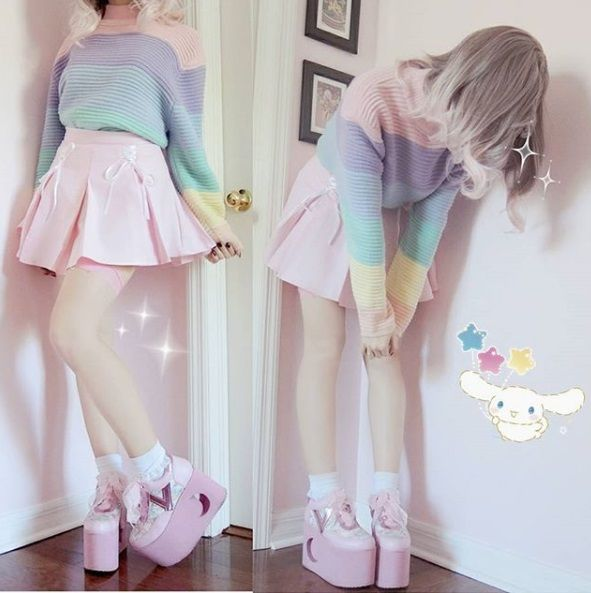 Photo of 🌈Kawaii Outfit Idea  Rainbow Sweater, Pink Skirt, and Cute Pink Boots 🌈