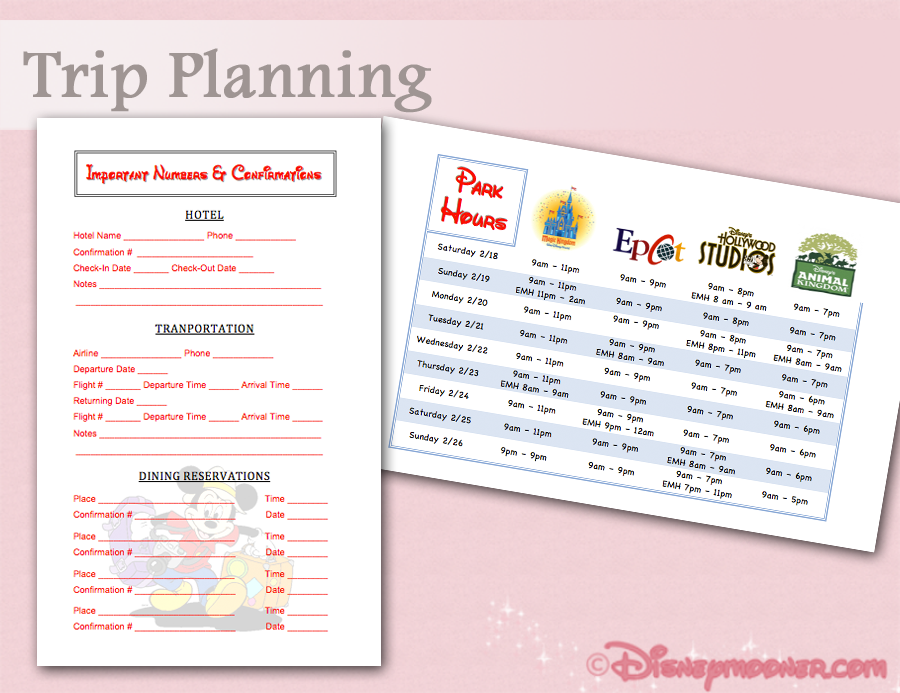 Trip Planning Worksheets For Guests Send To Wedding Guests To