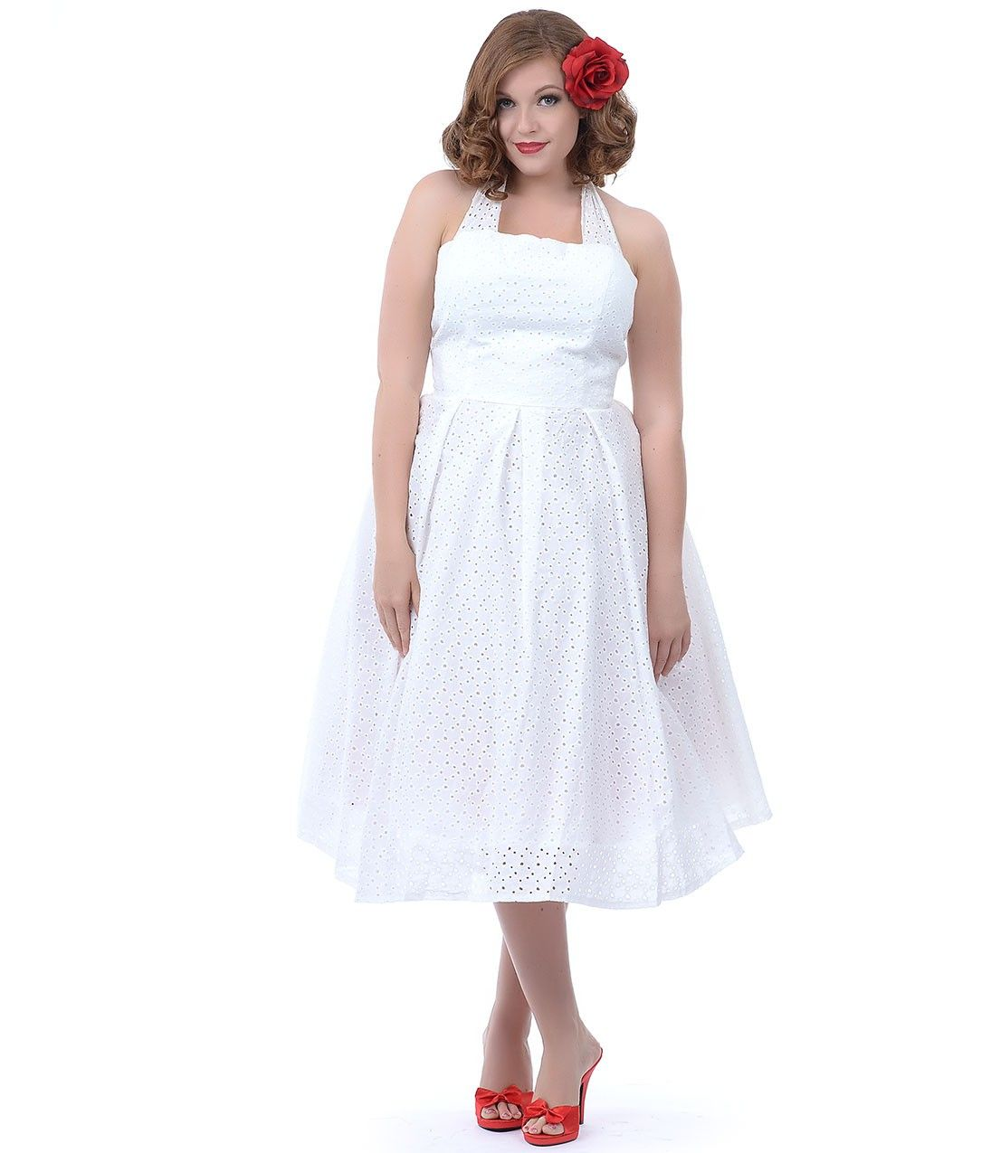 Unique Vintage Plus Size Off White Cotton Eyelet Flirty Halter Swing Dress